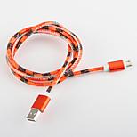 USB cable de cuero cable de carga 2.0 de aluminio de carga rápida para Samsung amartphone androide aable aeneral (1,0 m)