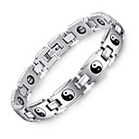 Men's Jewelry Health Care Taiji  Print Silver Stainless Steel Magnetic Bracelet