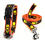 Dog Collar / Leash Adjustable/Retractable Black / Yellow Nylon