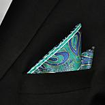 Men Paisley Light Green 100% Silk  Pocket Square Business