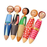 Doll Girl Design Blue Ink Ballpoint Pen Set(5 PCS/Set)