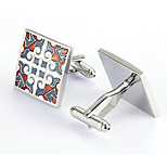 Men's Fashion Square Flower Silver Alloy French Shirt Cufflinks (1-Pair)