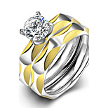 New Individual Irregular Unisex's White Zircon Gold-Plated Titanium Steel Set Rings(Gold-Silver)(1Set)