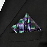 Men Checked Fuchsia  Green 100% Silk  Pocket Square Business Fashion