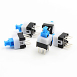 7 x 7mm Self-Locking Switch - Blue + White + Black (5 Piece Pack)