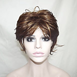 Europe And The United States Sell Gray Brown Dyed Polyester Middle-Aged And Old Become Warped Wig 12 Inch