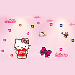 Hello Kitty Cartoon Girls Room Bedroom Wall Stickers Environmental DIY Kids Wall Decals PVC