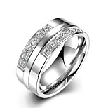 New Fashion Individual Unisex's  White Zircon  Titanium Steel Set Rings(Silver)(1Set)