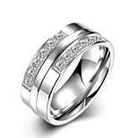 neue Art und Weise individuelle Unisex weißen Zirkon Titan Stahl Satz Ringe (Silber) (1set)