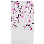 motif prune fleur PU cuir cas de téléphone pour Huawei Ascend p9 Lite / p9