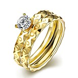New Individual Irregular Small Circles White Zircon Gold-Plated Titanium Steel Set Rings(Golden)(1Set)