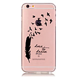 TPU Feather and Bird Pattern Transparent Soft Back Case for iPhone 6s 6 Plus