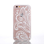TPU Half White Flower Pattern Transparent Back Case for iPhone 6s 6 Plus