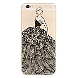 Kakashi Lace Printing TPU Painting Soft Case for iPhone 6s / 6 /6s Plus / 6 Plus(Confident Woman)