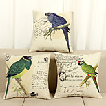 Set of 3 Flowers And Birds Print Pattern Linen Pillowcase  Home Decor pillow Cover (18*18inch)