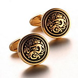 Men's Fashion Dragon Print Gold Alloy French Shirt Cufflinks (1-Pair)