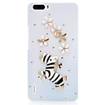 Rhinestone Hard Back Cover for Huawei Honor 6Plus(white zebra flower)
