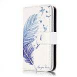 PU Leather Embossed Blue Feather Wallet Case with 9 Card Slots for iPhone SE 5s 5