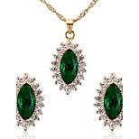 Women's Cubic Zirconia Necklace Earrings Jewelry Set