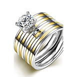 New Simple Gold-Silver Stripes White Zircon Gold-Plated Titanium Steel Suit Rings(Golden)(1Set)