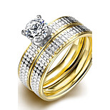 Fashion Simple Unsex's Silver Stripes White Zircon Gold-Plated Titanium Steel Couple Rings(Golden)(1Set)