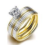 Art und Weise einfach vergoldete Silberstreifen weiß Zircon unsex Titan Stahl paar Ringe (goldene) (1set)