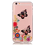 TPU Butterfly Pattern Transparent Soft Back Case for iPhone 6s 6 Plus