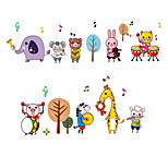 Animals Cartoon Zoo Band Wall Stickers Children's Bedroom Kindergarten Wall Decals Removable