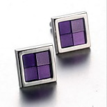 Unisex Fashion Purple Face Silver Alloy French Shirt Cufflinks (1-Pair)
