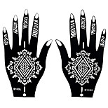 2pcs Henna Airbrush Black Stencil Tattoo Temporary Tattoo for Women Body Hand Art Sticker S103