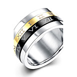 lureme® Classic Gold Silvery Black Spinner Stainless Steel Roman Numerals Mens Womens Ring