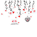 Romance Love Birds Heart TV WALL Stickers Removable Creative Design Room PVC Wall Decals