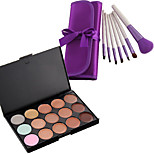 15 Color Contour Face Cream Makeup Concealer Palette #1+ 7PC Puple Brush Set