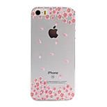 El material de TPU flores de color rosa patrón de la caja del teléfono para el iphone delgada SE / 5s / 5