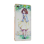 Metal Frame Protective Shell Hard  Painting for HUAWEI P8 (Golden Box + Girl)