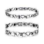 Couple's Jewelry Health Care Silver Titanium Steel Magnetic Bracelet