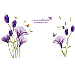 Happiness Purple Lily Flowers Butterfly Wall Stickers DIY Removable Bedroom Living Room Background Art Wall Decals