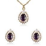Women's Purple Cubic Zirconia Necklace Earrings Jewelry Set