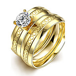New Individual Exquisite Small Circles White Zircon Gold-Plated Titanium Steel Statement Rings(Golden)(1Set)