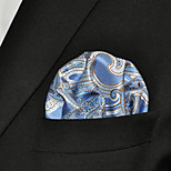 Men Paisley Light Blue 100% Silk  Pocket Square Business Fashion