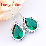 Shiny Antique Drop Fire Blue Topaz Green Quartz Gem 925 Silver Drop Earrings For Wedding Party Daily Holiday 1Pairs
