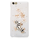 Rhinestone Back Cover for Huawei Honor 4C(white zebra flower)