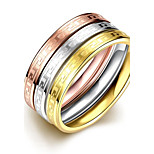lureme® Vintage Classic Tricolor Stainless Steel with Waving Curved Lines Womens Girls Rings 3 Pcs A Set