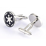 Men's Fashion Black Print Silver Alloy French Shirt Cufflinks (1-Pair)