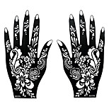 2pcs Tattoo Stencil Airbrush Printing Temporary Henna Black Mehndi Hands Art Tattoo Flower Design Sticker S117