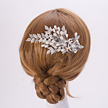 Silver/Gold Leaf FLower Shape Crystal Pearl Hair Combs for Wedding Party Lady