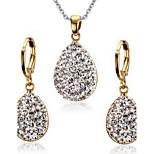 Women's Rhinestone Drop Style Gold Alloy Necklace Earrings Jewelry Set