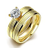 New Individual Straight Stripes White Zircon Gold-Plated Titanium Steel Statement Rings(Golden)(1Set)