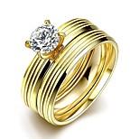 neue individuelle gerade Streifen weißen Zirkon vergoldet Titan Stahl Aussage Ringe (goldene) (1set)
