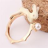 Women European Style Fashion Cute Rabbit Bunny Imitation Pearl Ring